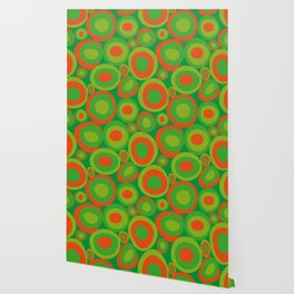 Bubbleroom in red and green Wallpaper