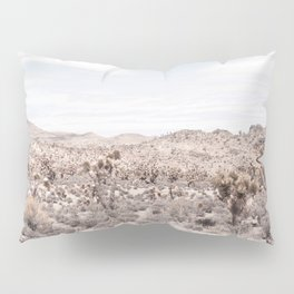 Cactus Landscape // Photograph of Desert Plains Cloudy Sky Tan and Yellow Pillow Sham