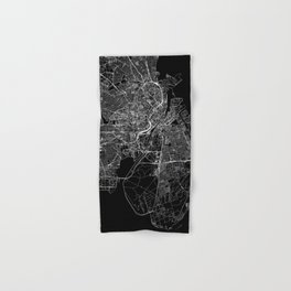 Copenhagen Black Map Hand & Bath Towel