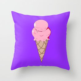 A Strawberry Ice Cream in a Cone with Purple Background Throw Pillow