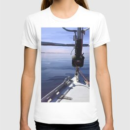 """Seeking the Horizon"" - Sailboat Painting T-shirt"