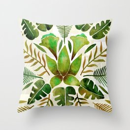 Tropical Symmetry – Olive Green Throw Pillow