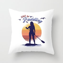 stand up paddling woman SUP Throw Pillow
