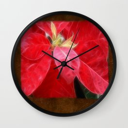 Mottled Red Poinsettia 2 Blank P3F0 Wall Clock