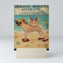 Beach Life Sandy Toes English Mastiff dog gift Mini Art Print
