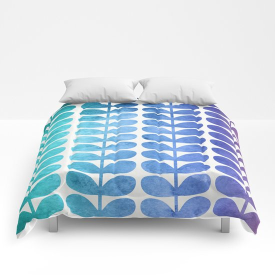 Colorful Leaves from Turquoise to Levender Comforters