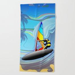 Windsurfer on Ocean Waves Beach Towel