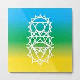 Solar Plexus, Heart & Throat Chakra Intersection Metal Print