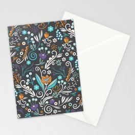 Flower circle pattern, brown Stationery Cards