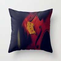 violin Throw Pillows featuring Violin by KimberosePhotography