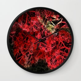 Mottled Red Poinsettia 1 Ephemeral Letters 2 Wall Clock