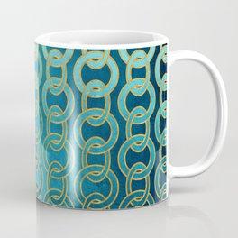 Ocean Blue Watercolor Gold Chain Links Coffee Mug