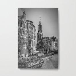 AMSTERDAM Mint Tower   monochrome Metal Print