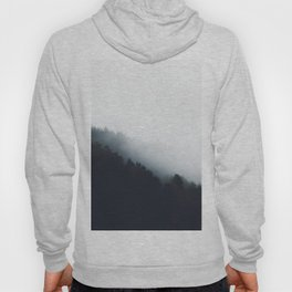 Fog over forest diagonal layers Hoody