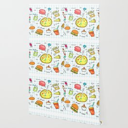 colorful doodle soda cartoon set Wallpaper