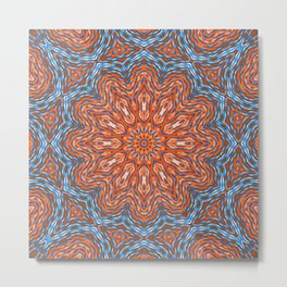 Blue - orange kaleidoscope Metal Print