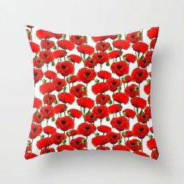 Red Poppy Pattern Throw Pillow
