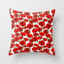 Red Poppy Pattern Throw Pillow