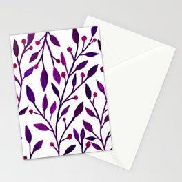 Leafs and iny fruit - purple and pink pallete Stationery Cards