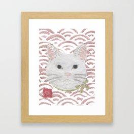 Cat, White Cat, Modern Japanese, Asian Framed Art Print
