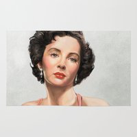 comic book Area & Throw Rugs featuring Elizabeth Taylor Tribute comic book cover by Storm Media