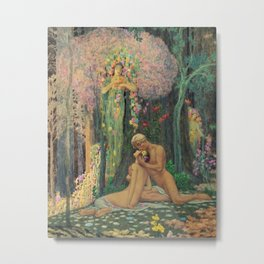 'A Man and a Woman in the Forest with Angels' Floral Landscape by Charles Holloway Metal Print