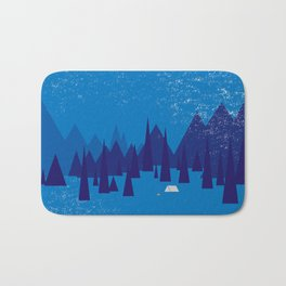 Sleeping in the blue mountains under a blanket of snow Bath Mat