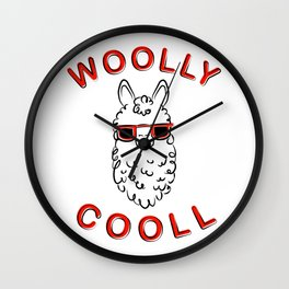 Woolly Cooll Cute Llama Pun Wall Clock