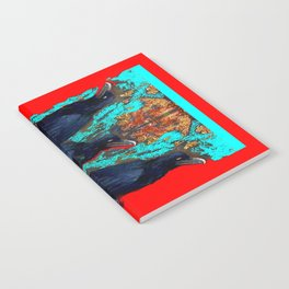 Crow-Ravens Family Red Southwest Style Abstract Notebook
