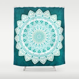 White Mandala on Blue Green Distressed Background with Detail and Textured Shower Curtain