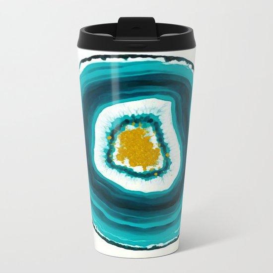 Agate Turquoise  Metal Travel Mug