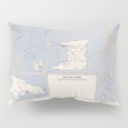 Vintage Map of The West Indies (1958) Pillow Sham