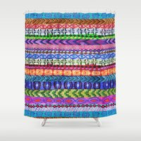 peru Shower Curtains featuring Peru Stripe II by Schatzi Brown