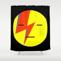 emoji Shower Curtains featuring bowie emoji by Rue du chat qui peche