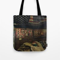 cabin pressure Tote Bags featuring Cabin by Francesca Bryk