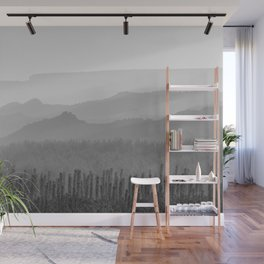 Sunrise at the misty mountains. Bad lands. WB Wall Mural