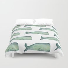 Friendly whale from the sea Duvet Cover