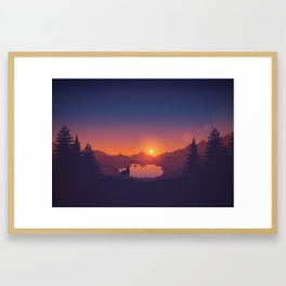 Lakeside Sunset Framed Art Print