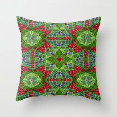 Red and Green Geometric Design #2204 Throw Pillow