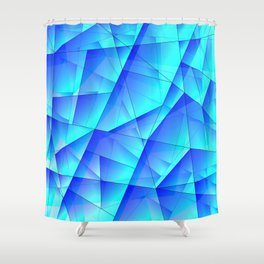 Abstract celestial pattern of blue and luminous plates of triangles and irregularly shaped lines. Shower Curtain