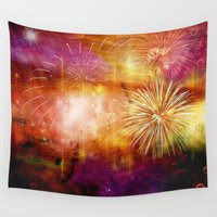 fireworks Wall Tapestries featuring fireworks by haroulita