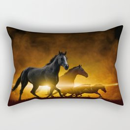 Wild Black Horses Rectangular Pillow