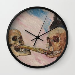 James Ensor - Skeletons Fighting Over a Pickled Herring - Exhibition Poster Wall Clock