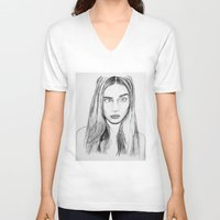cara V-neck T-shirts featuring Cara by Chris Watts Art