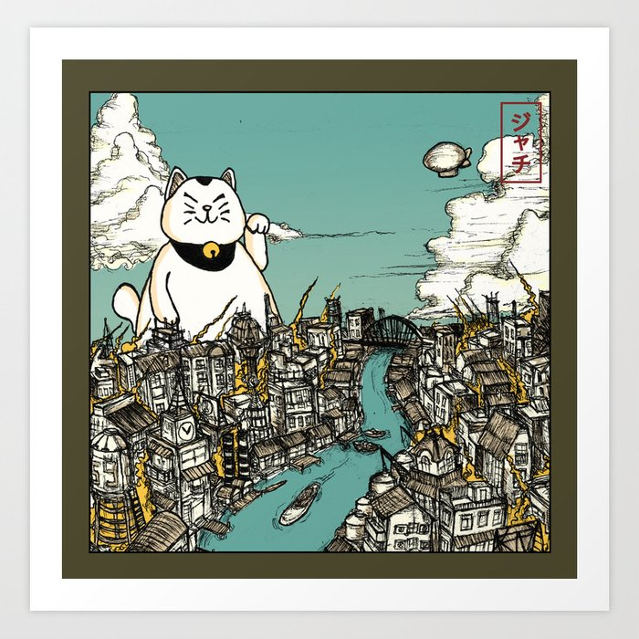 Neko : The Beckoning Disaster In Color Art Print