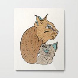 Mama And Baby Lynx Metal Print