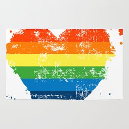 LGBT Pride Love Heart Rainbow Flag Vintage Rug