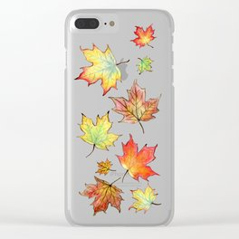 Autumn Maple Leaves Clear iPhone Case