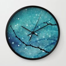 Winter Snow Branches  Wall Clock