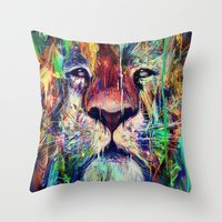 lion Throw Pillows featuring Lion by nicebleed